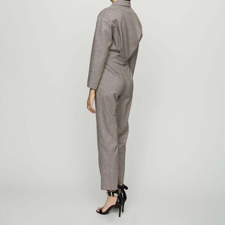 Belted plaid jumpsuit : Pants & Jeans color CARREAUX