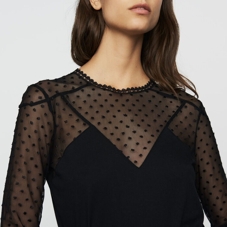 T-shirt in cotton and Swiss dot : Tops & T-Shirts color Black 210