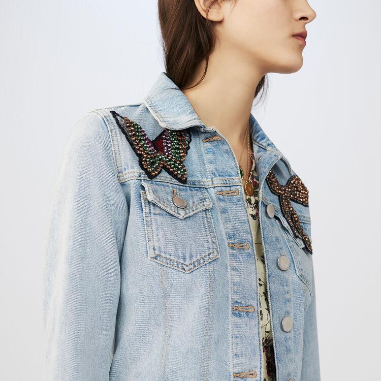 Short denim jacket with badge : Coats & Jackets color Blue
