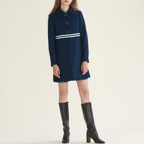 Straight-cut coat in wool and cashmere : Coats & Jackets color Navy