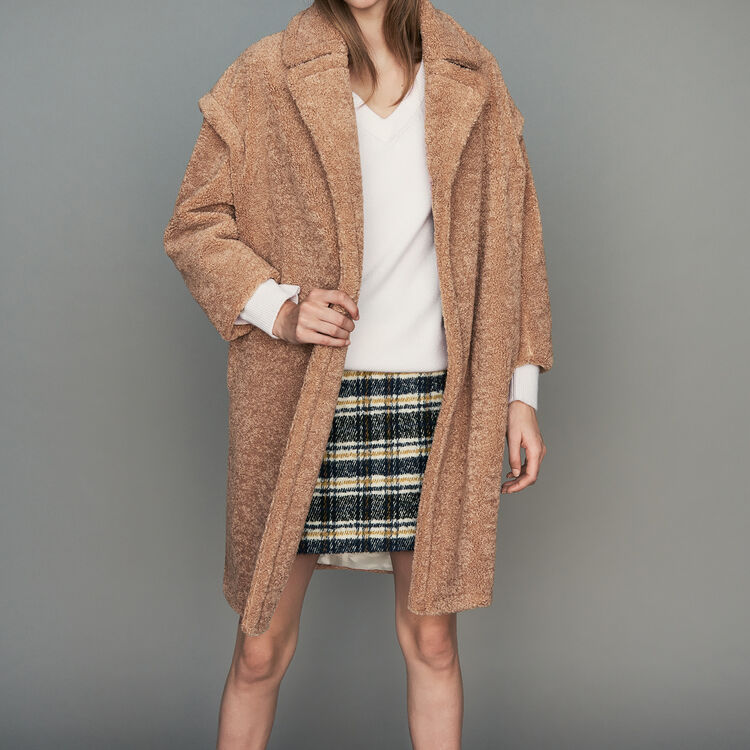 Oversize shearling coat : Coats & Jackets color Camel