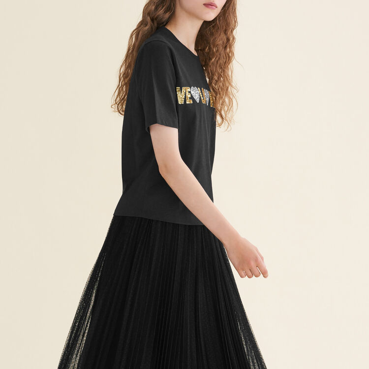 Cotton T-shirt with sequins : null color