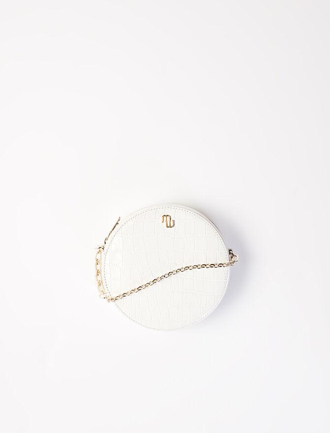 Round crocodile-effect leather bag -  - MAJE