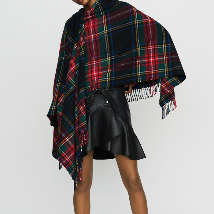 Tartan cashmere poncho : Scarves color Multico