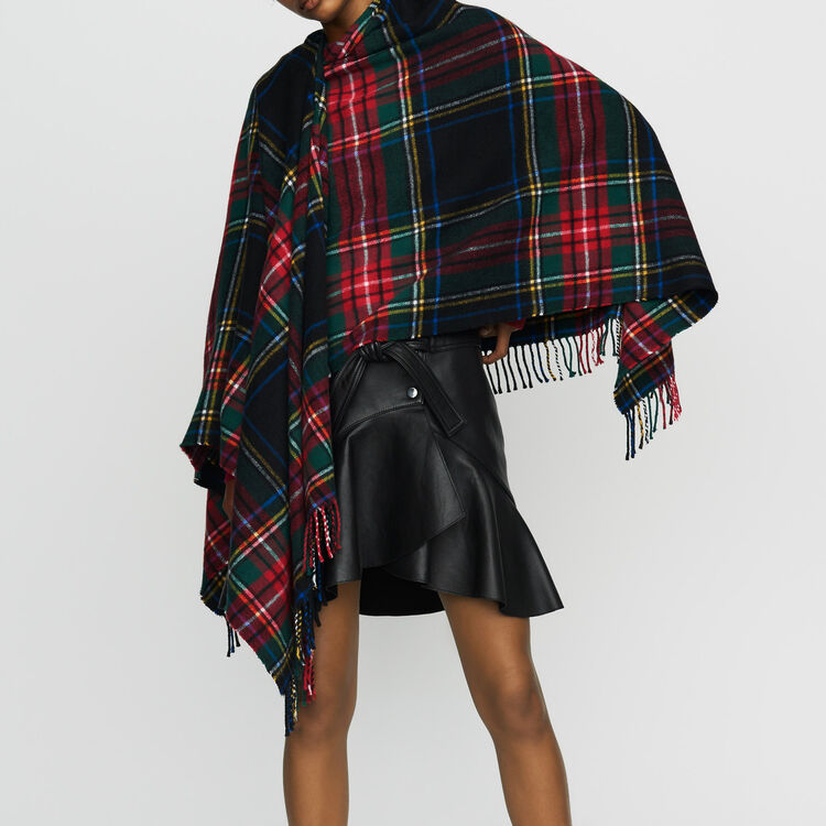 Tartan cashmere poncho : Scarves & Hats color Multico