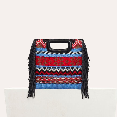 Mini M bag in knit and leather : M Bags color Blue