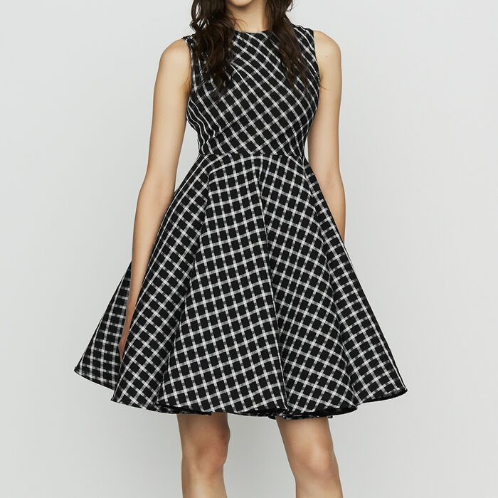 86b1e4067c55 REINE Sleeveless plaid skater dress - Dresses - Maje.com