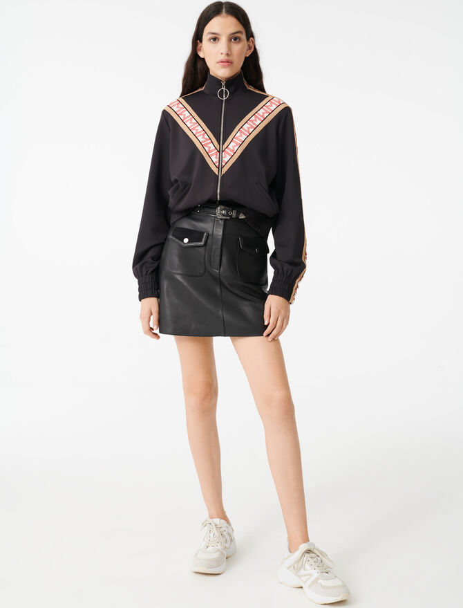 Track jacket with contrasting bands - Sweaters - MAJE