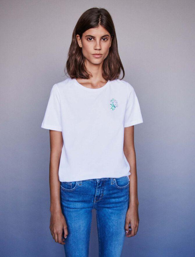 Embroidery and rhinestone cotton t-shirt -  - MAJE
