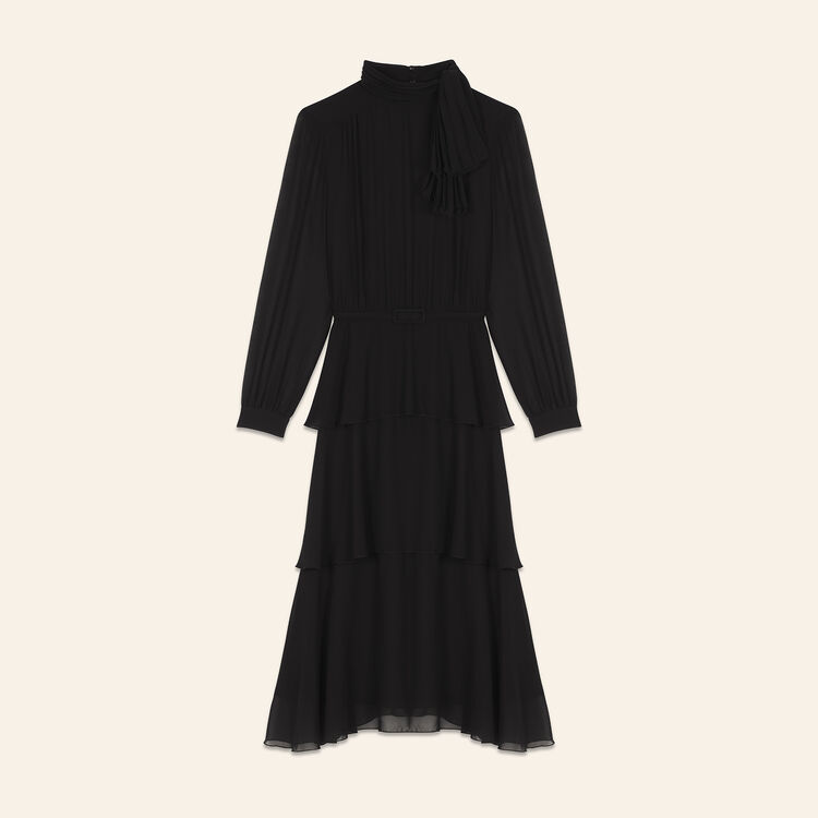 Flowing frilled dress : null color