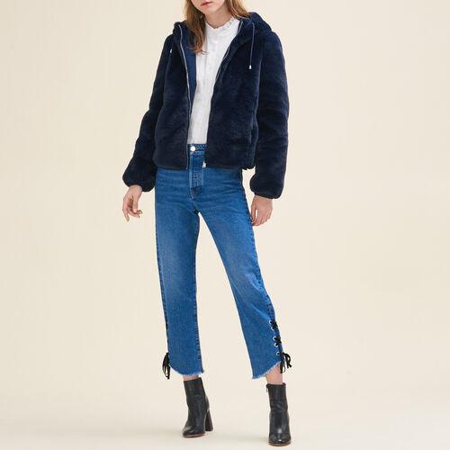 Cropped faux fur jacket : Coats & Jackets color Blue