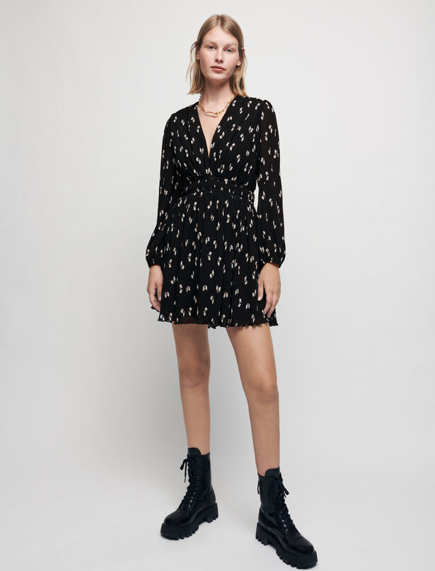 Maje Mini pleated dress with knot print