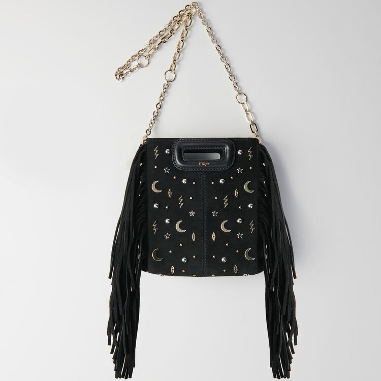 Mini studded suede M bag with chain : M Mini color Black