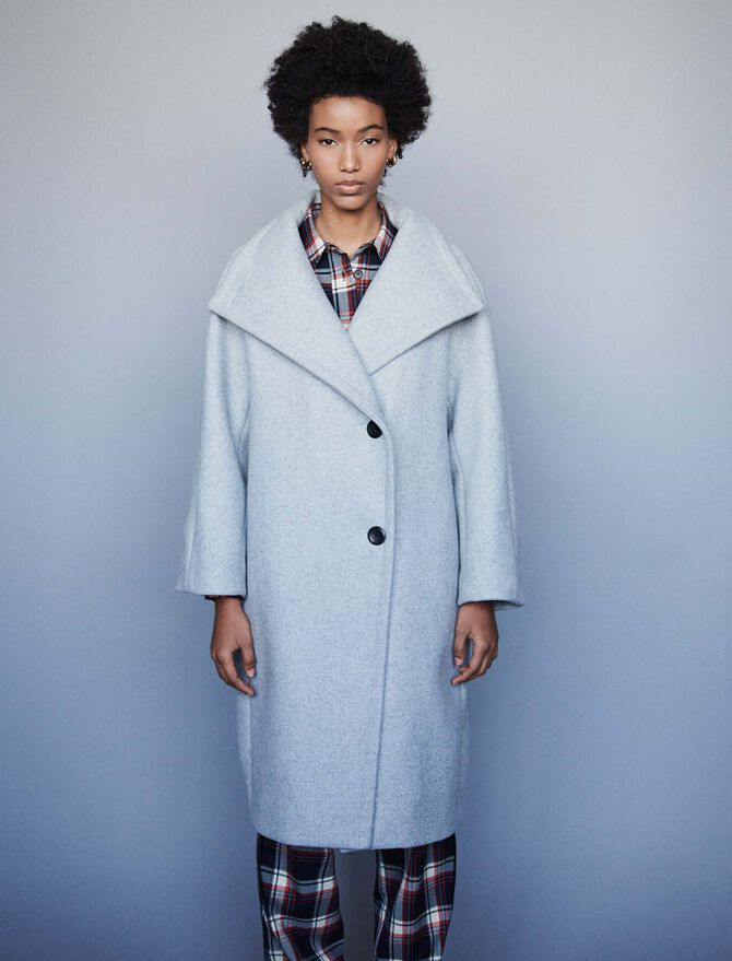 Long wool coat with wide collar - Coats & Jackets - MAJE