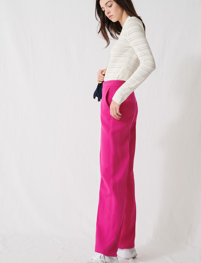 Fuchsia tailored trousers - Pants & Jeans - MAJE