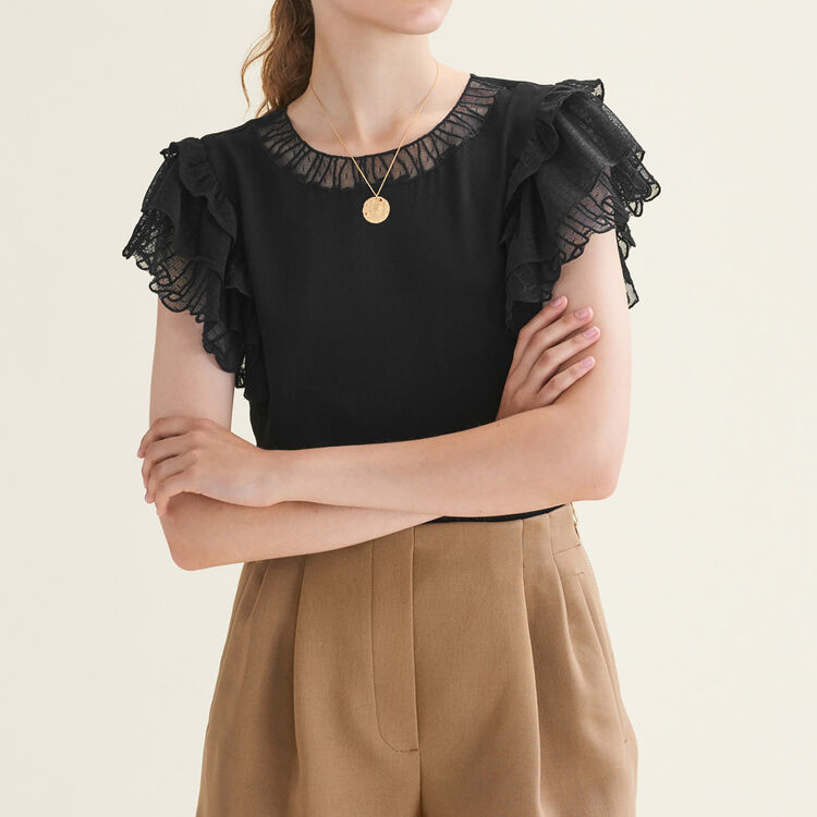 Flounced lace top : Tops & Shirts color Black 210