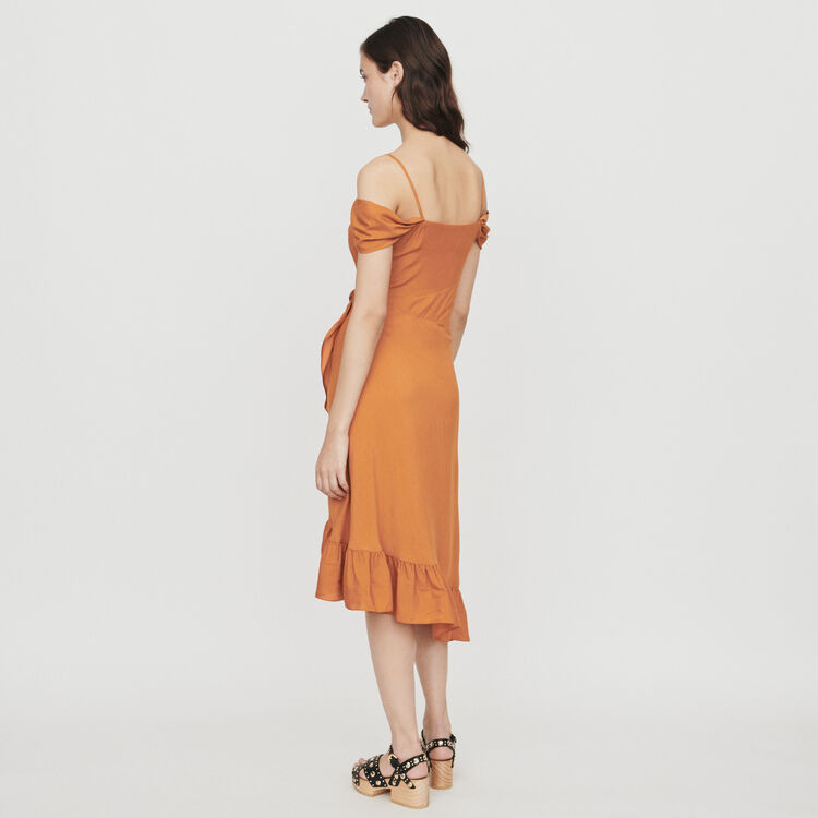 Midi dress with bare shoulders : Dresses color Terracota