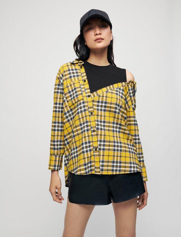 마쥬 티셔츠 MAJE Trompe l'oeil checked shirt and T-shirt,Yellow
