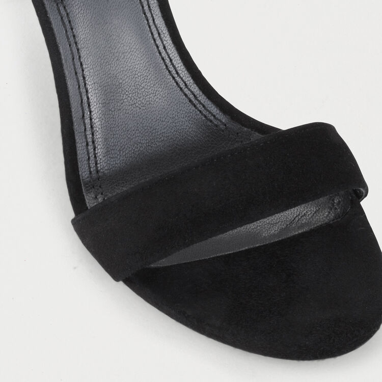 Suede heeled sandals : Shoes color Black 210