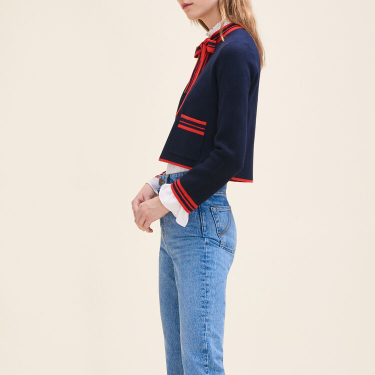 Short two-tone cardigan : Sweaters color Navy