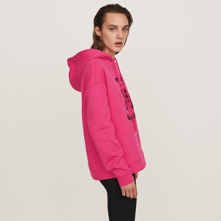 Embroidered hooded sweatshirt : Sweaters color Fuchsia