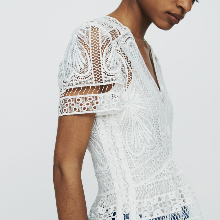 Top in guipure with basque : Tops & T-Shirts color Off White