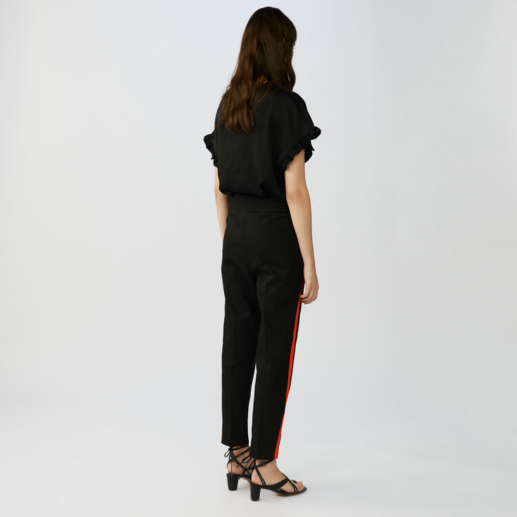 Straight cut pants with stripes : Pants & Jeans color Black 210
