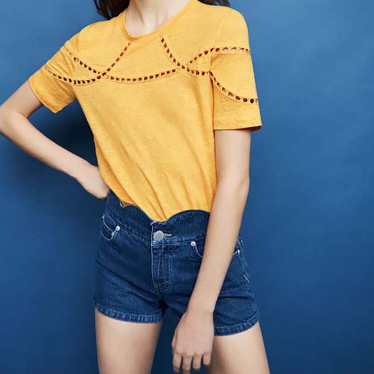 Embroidered linen t-shirt : Tops & Shirts color Ecru