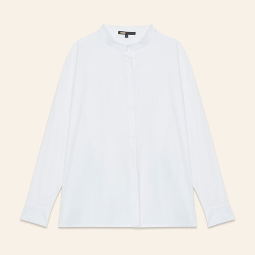 Asymmetric poplin shirt : Tops & T-Shirts color White