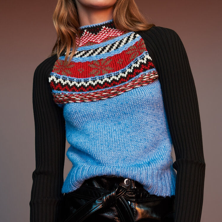 Novelty jacquard knit sweater : Sweaters color Multico