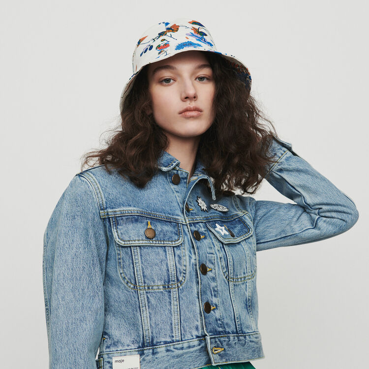 Bucket hat in floral printed cotton : Other accessories color White