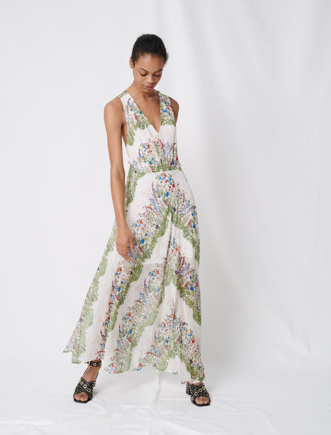 Printed muslin scarf dress - Dresses - MAJE