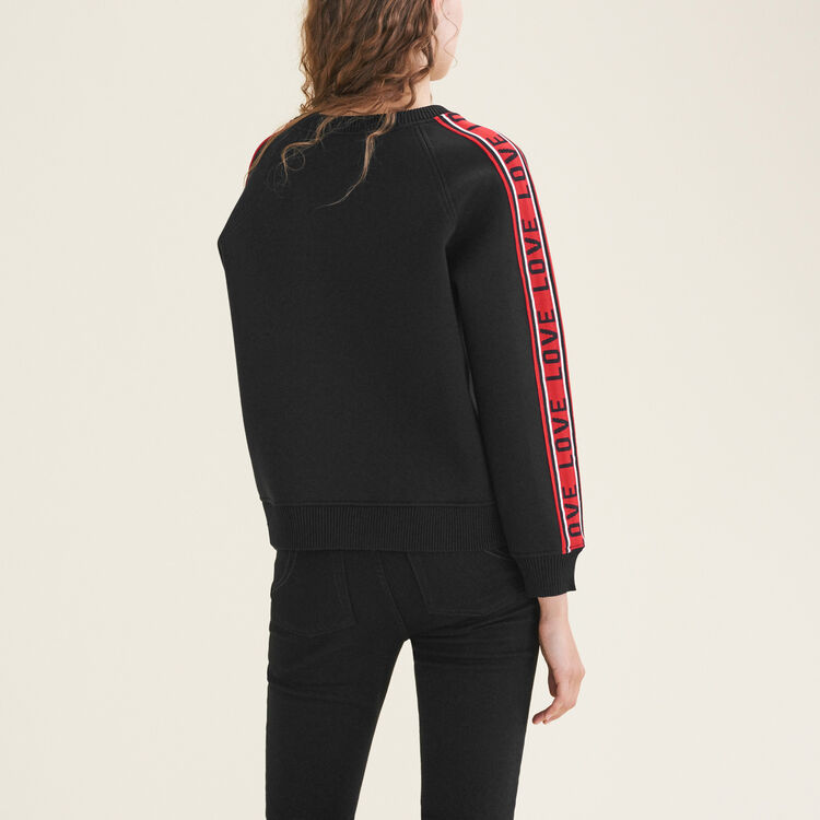 Neoprene sweatshirt with bands : The Spring Essentials color Black 210