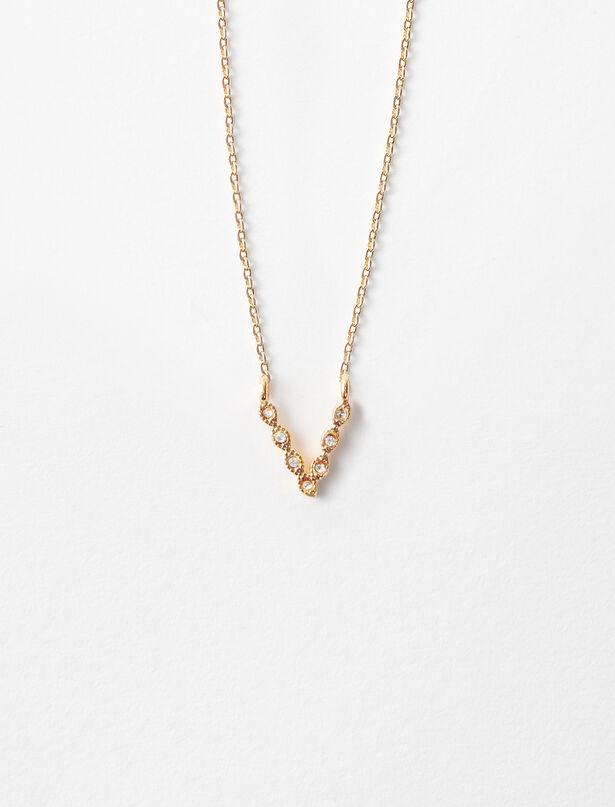 마쥬 MAJE Rhinestone V necklace,Gold