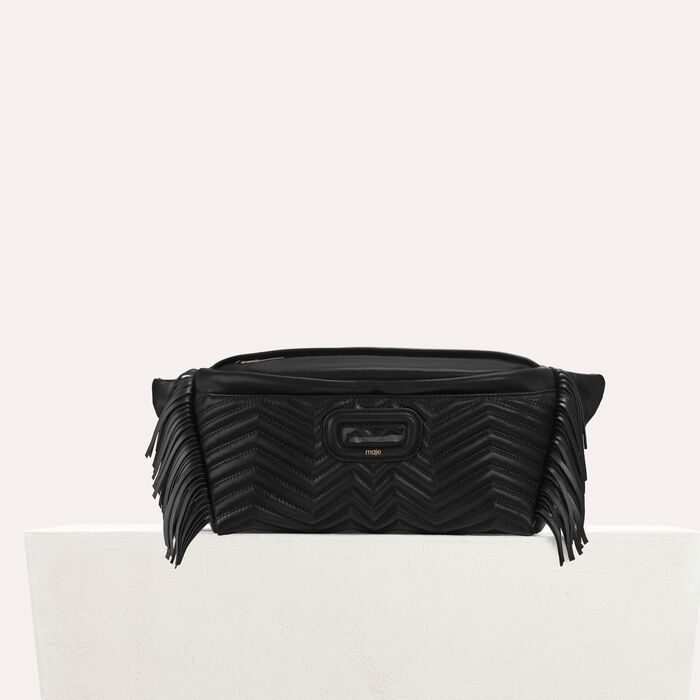 Leather fanny pack with quilted : Handbags & Purses color Black 210