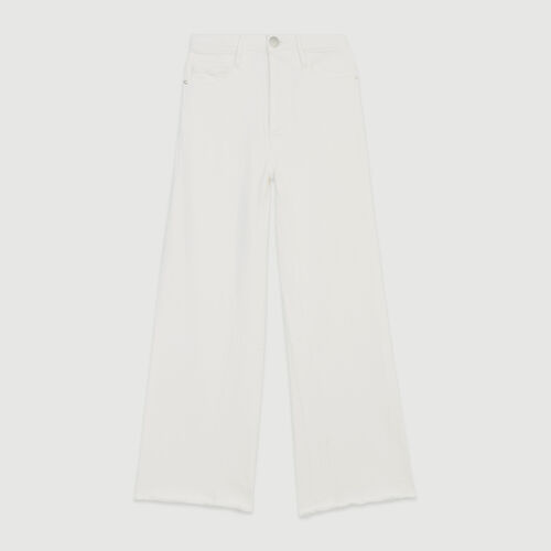 High-waisted wide leg jeans : Pants & Jeans color White