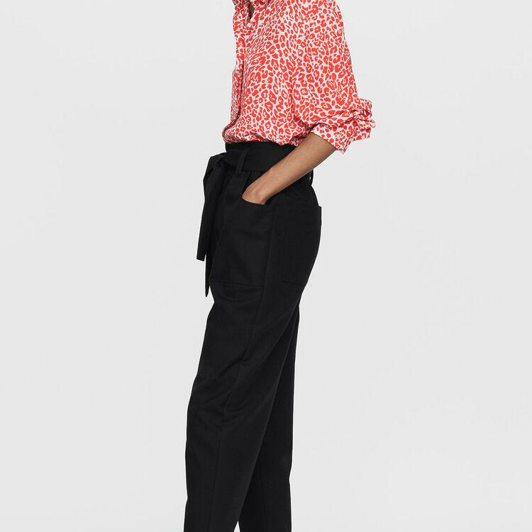 Wide high-waist pants : Pants & Jeans color Black 210