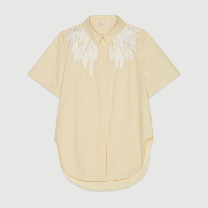 Short-sleeve embroidered shirt : Tops & T-Shirts color Yellow