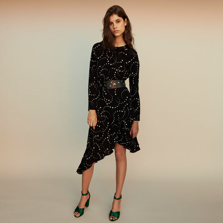 Asymmetrical printed-crepe dress : Dresses color Black