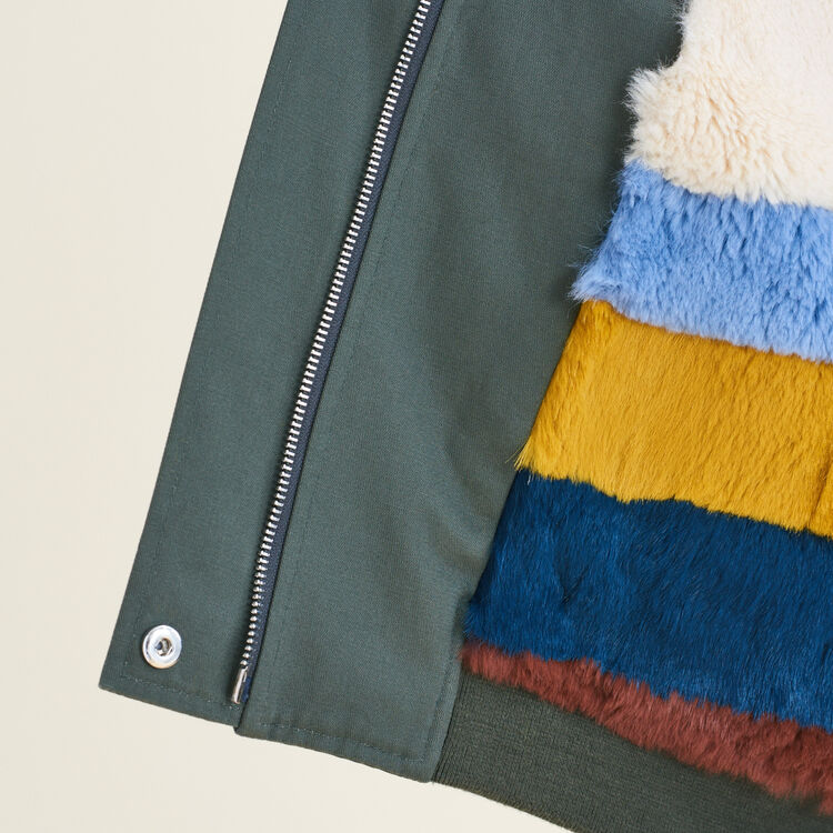 Jacket with multicoloured fur : null color