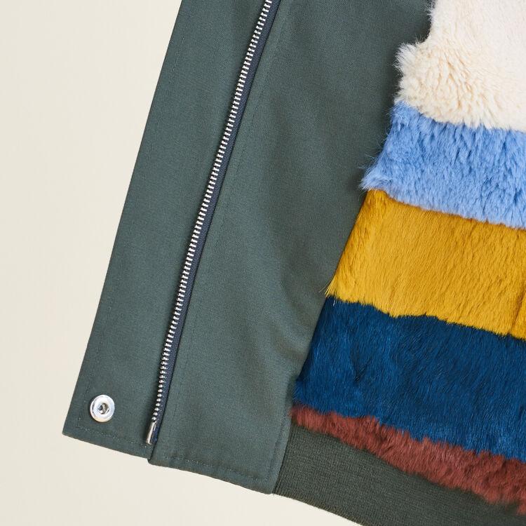 Jacket with multicoloured fur - Coats & Jackets - MAJE