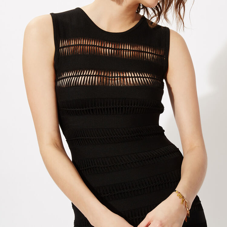 Black sleeveless openwork jersey dress : Copy of Sale color