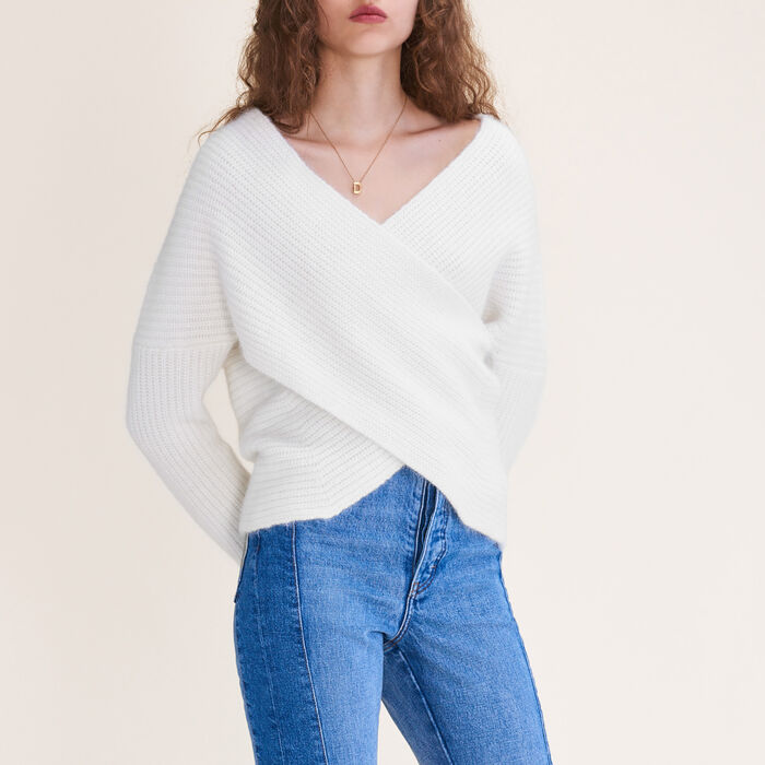 Knitted wrap front jumper -  - MAJE