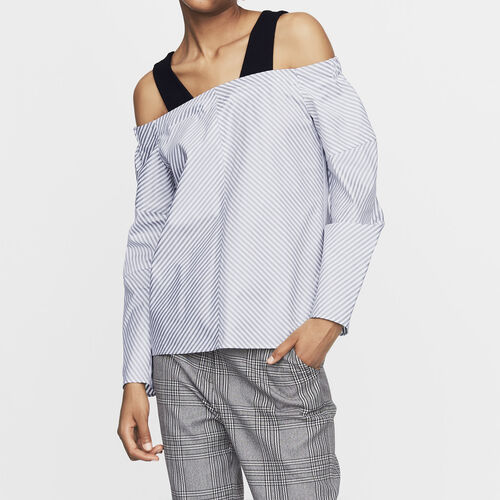 Cold-shoulder striped cotton top : Tops & T-Shirts color Stripe