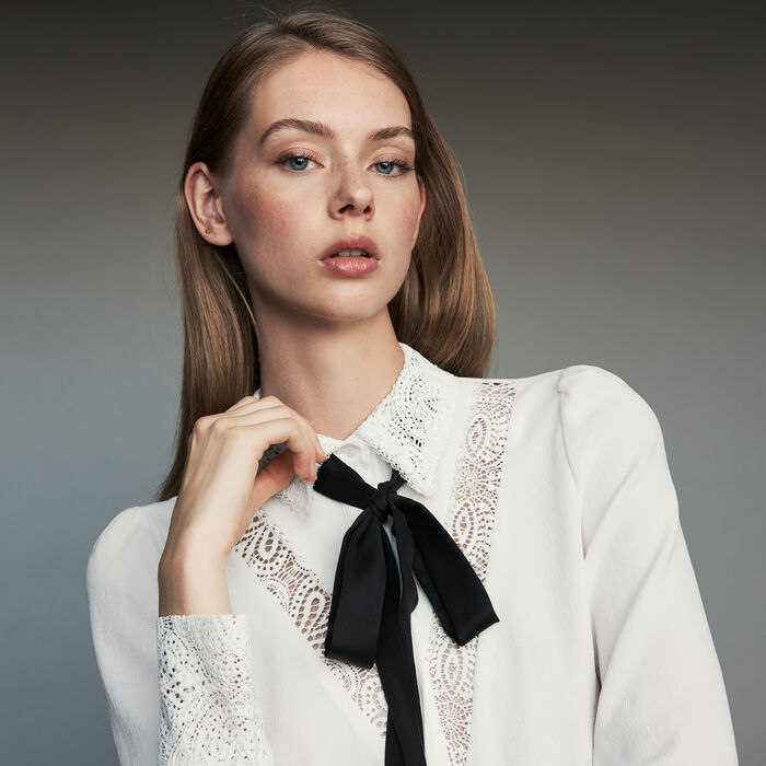 Lavalier shirt with lace : Tops & T-Shirts color White