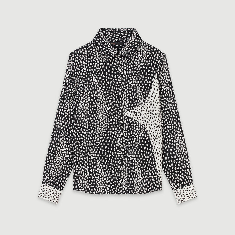 Patched jacquard-printed shirt : Tops & T-Shirts color Black