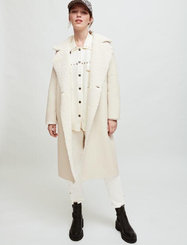 마쥬 MAJE Long reversible shearling coat,Ecru