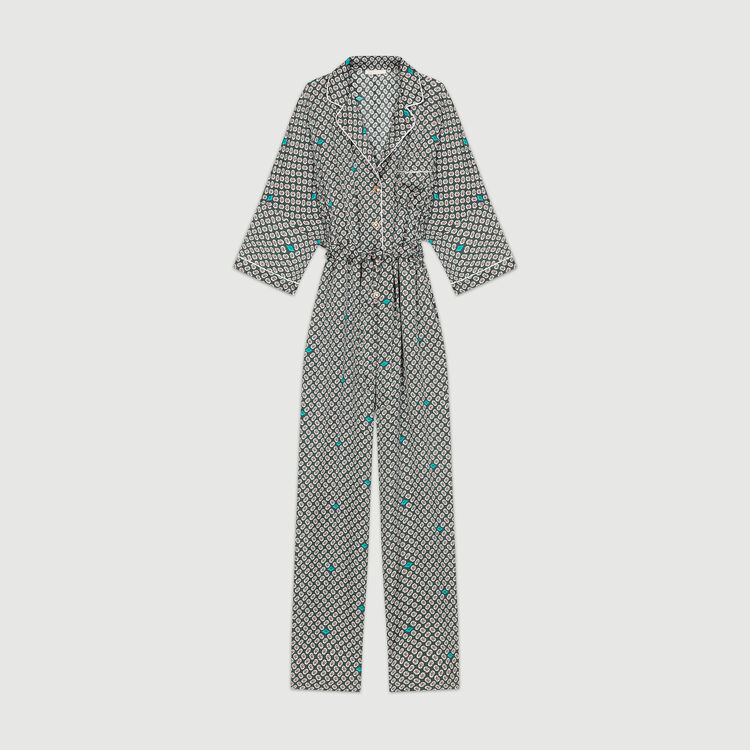 Printed satin jumpsuit : Jumpsuits color PRINTED