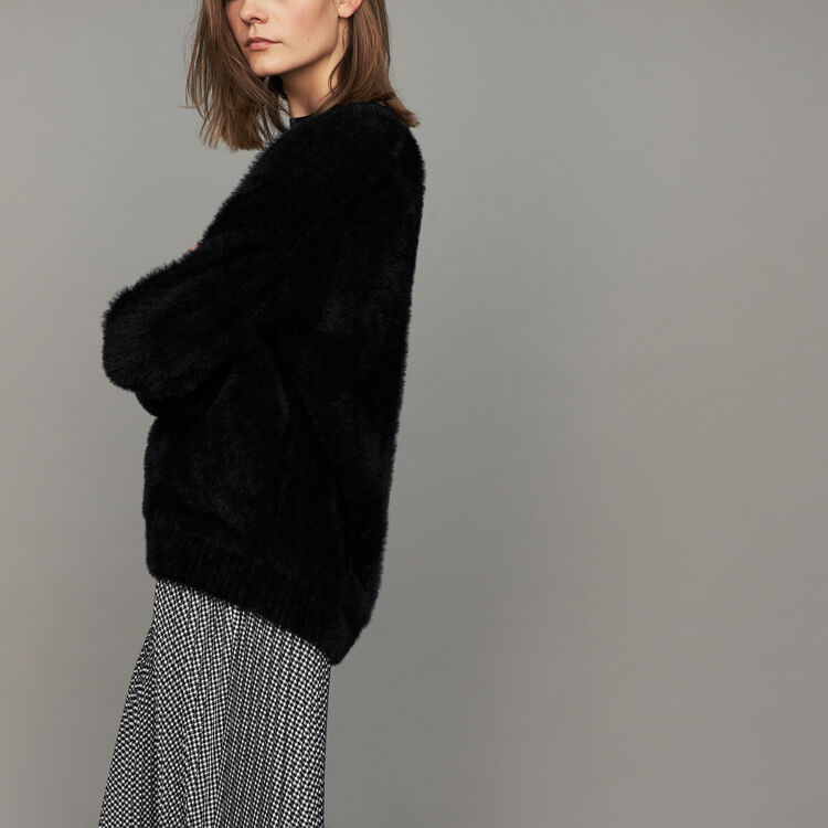 Faux-fur sweater : Sweaters color Black 210