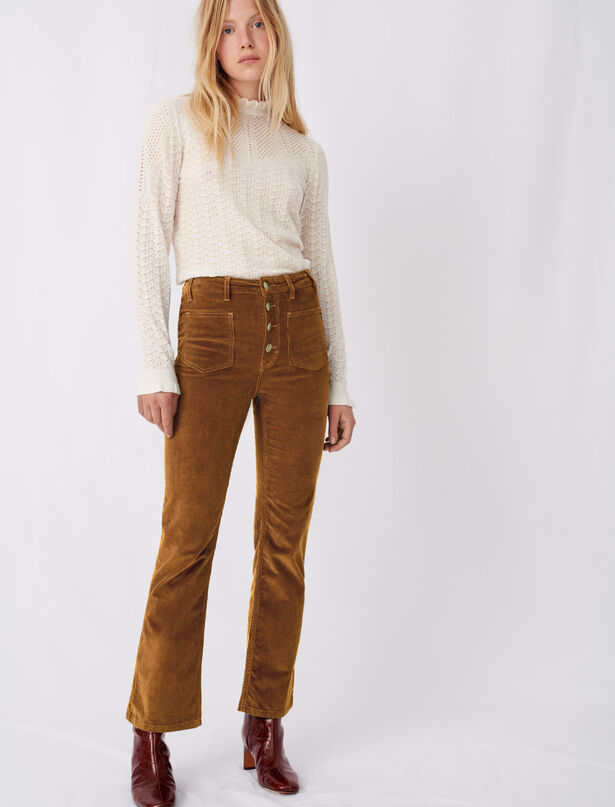 마쥬 MAJE Straight-cut velvet trousers,Caramel